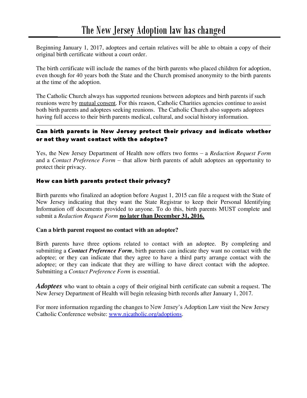 The Nj Adoption Law Has Changed Page 001 Catholic Charities