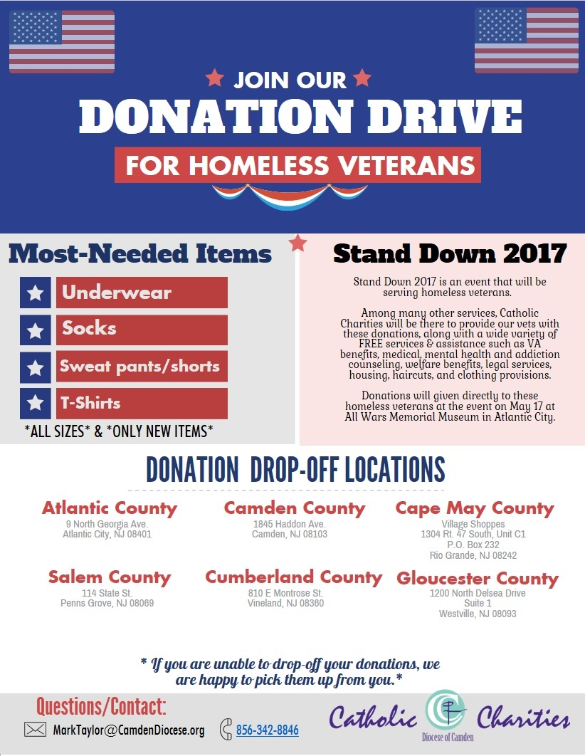 Donation Drive for Homeless Veterans: Stand Down 2017