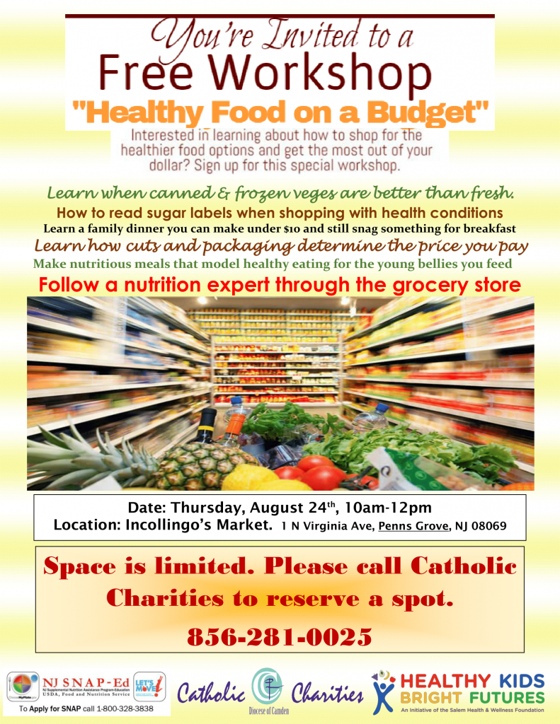 free healthy food on a budget workshop catholic charities